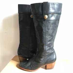 Coach Leather Black Heel Boots